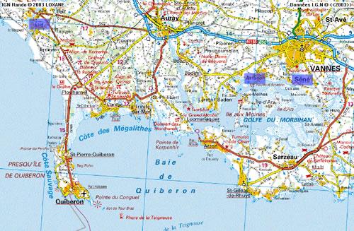 Infos sur : carte morbihan sud   Arts et Voyages